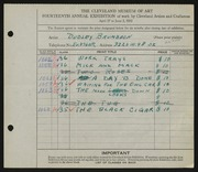 Entry card for Brumbach, Dudley for the 1932 May Show.