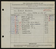 Entry card for Bundasz, Rudolph for the 1932 May Show.