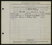 Entry card for Calico Patches Wares, and Fenton, Frances; Woodbridge, Elizabeth Stair for the 1932 May Show.
