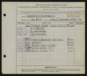 Entry card for Campbell, Marion Macdonald for the 1932 May Show.