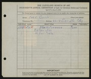 Entry card for Carlo, Fred C.  for the 1932 May Show.