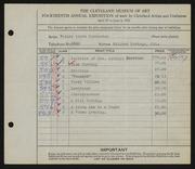 Entry card for Carpenter, Wesley Monro for the 1932 May Show.