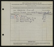 Entry card for Carroll, Adelaide for the 1932 May Show.
