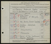 Entry card for Carter, Clarence Holbrook for the 1932 May Show.