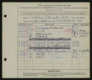 Entry card for Cass, Caroline Pickands for the 1932 May Show.