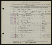 Entry card for Cass, Katherine Dorn for the 1932 May Show.
