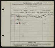 Entry card for Cernik, Justin John for the 1932 May Show.