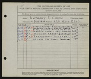 Entry card for Ciresi, Anthony S. for the 1932 May Show.