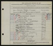 Entry card for Clough, Stanley T. for the 1932 May Show.
