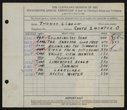 Entry card for Clough, Thomas for the 1932 May Show.