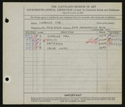 Entry card for Coe, Charles Martin for the 1932 May Show.