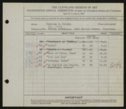 Entry card for Colman, Charles C. for the 1932 May Show.
