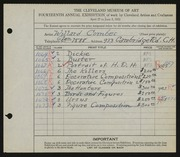 Entry card for Combes, Willard Wetmore for the 1932 May Show.