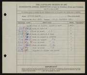 Entry card for Cooper, Dr. Bernard Henry for the 1932 May Show.