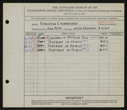 Entry card for Crawford, Florence Virginia for the 1932 May Show.