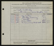Entry card for Cubberly, Carl for the 1932 May Show.