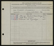 Entry card for Cubberly, Robert for the 1932 May Show.