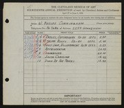 Entry card for Cunningham, William Phelps for the 1932 May Show.
