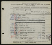 Entry card for Daniele, Francesco for the 1932 May Show.