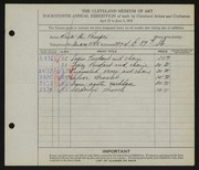 Entry card for De Pompei, Rosa for the 1932 May Show.