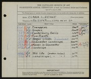 Entry card for Deike, Clara L. for the 1932 May Show.