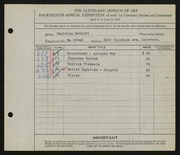 Entry card for Detlefs, Beatrice for the 1932 May Show.