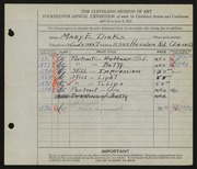 Entry card for Dirks, Mary Eileen for the 1932 May Show.