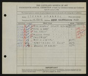Entry card for Dohanos, Stevan for the 1932 May Show.