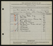Entry card for Dunn, Louise Morrison for the 1932 May Show.