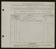 Entry card for Duren, Terence R. for the 1932 May Show.