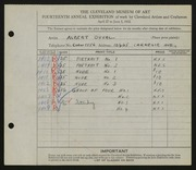 Entry card for Duval, Albert D. for the 1932 May Show.