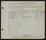 Entry card for Dyer, Nora E. for the 1932 May Show.