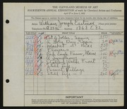 Entry card for Eastman, William Joseph for the 1932 May Show.