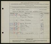 Entry card for Eckhard, Edris for the 1932 May Show.