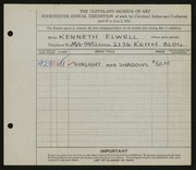 Entry card for Elwell, Kenneth for the 1932 May Show.