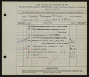 Entry card for Eppink, Helen Brenan for the 1932 May Show.