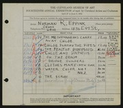 Entry card for Eppink, Norman Roland for the 1932 May Show.