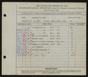 Entry card for Field, Laurence Buell for the 1932 May Show.