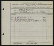 Entry card for Filkins, Byron V. for the 1932 May Show.