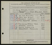 Entry card for Flory, Julia McCune for the 1932 May Show.
