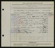 Entry card for Fredericks, Marshall Maynard for the 1932 May Show.
