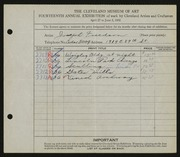 Entry card for Freedson, Joseph for the 1932 May Show.