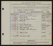 Entry card for Gaertner, Carl Frederick for the 1932 May Show.