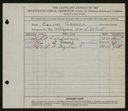 Entry card for Garber, Salvini for the 1932 May Show.