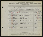 Entry card for Garramone, Joseph  for the 1932 May Show.