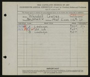 Entry card for Gates, Wendall N. for the 1932 May Show.