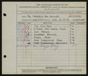 Entry card for Geisler, Frederic William for the 1932 May Show.