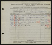 Entry card for Gerald, Elizabeth Bart for the 1932 May Show.