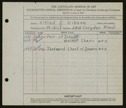 Entry card for Gibson, Alfred E. for the 1932 May Show.