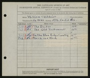 Entry card for Gilchrist, William for the 1932 May Show.